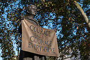 The statue of Dame Millicent Fawcett, the suffragist leader and social campaigner, at Parliament Square on the 4th October 2019 in London in the United Kingdom. The statue is a 2018 work by the Turner Prize-winning artist Gillian Wearing.