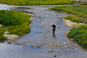 Sommieres, South of France, Medieval Village, Net Fishing in River