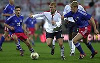 Photo: Greig Cowie<br />Liechtenstein v England. Euro 2004 Qualifyer. 29/03/2003<br />Paul Scholes bursts through the middle