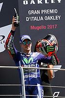 Maverick ViÒales of Spain  and Movistar Yamaha MotoGP second during the Moto GP Grand Prix at the Mugello race track on June 4, 2017 celebrates on the podium. <br /> MotoGP Italy Grand Prix 2017 at Autodromo del Mugello, Florence, Italy on 4th June 2017. <br /> Photo by Danilo D'Auria.<br /> <br /> Danilo D'Auria/UK Sports Pics Ltd/Alterphotos