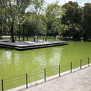 A lake in Basque de Chapultepec, a large and popular public park in the center of Mexico City.
