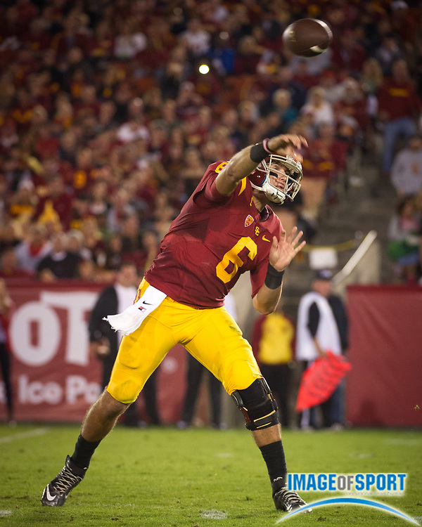 Nov 7, 2015; Los Angeles, CA, USA; Southern California Trojans quarterback Cody Kessler (6) passes the ball during the game against the Arizona Wildcats at Los Angeles Memorial Coliseum. Photo by Ed Ruvalcaba