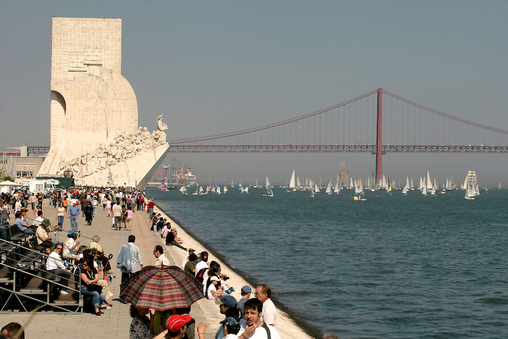 The Tagus river ends in Lisbon and has the biggest estuary in Europe. The 25th of April bridge is the background of most of the scenery in the border of the river.