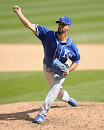CHICAGO - SEPTEMBER 12:  Jorge Lopez #28 of the Kansas City Royals pitches against the Chicago White Sox on September 12, 2019 at Guaranteed Rate Field in Chicago, Illinois.  (Photo by Ron Vesely)  Subject:   Jorge Lopez