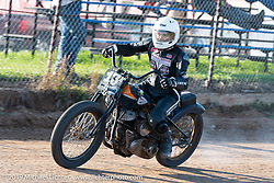 Brittney Olsen riding her Harley-Davidson hand shift racer in the Spirit of Sturgis races at the fairgrounds during the Sturgis Black Hills Motorcycle Rally. Sturgis, SD, USA. Monday, August 5, 2019. Photography ©2019 Michael Lichter.