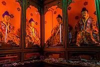Buddha statues, Tandruk Monastery, near Tsedang, Tibet (Xizang), China.