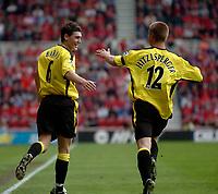 Photo. Glyn Thomas.<br /> Middlesbrough v Aston Villa. <br /> FA Barclaycard Premiership. 24/04/2004.<br /> Aston Villa's Gareth Barry (L) celebrates scoring his side's equaliser on the stroke of half time with Thomas Hitzlsperger.