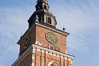 Ratusz or Town Hall Clock Tower in Stare Miasto Krakow Old Town Poland