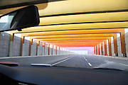 ZHENGZHOU, CHINA - JANUARY 13: (CHINA OUT)<br /> <br /> Rainbow Tunnel <br /> <br /> A rainbow tunnel is seen near Zhengzhou-Kaifeng urban express on January 13, 2015 in Zhengzhou, Henan province of China. A 400-meter tunnel under construction was painted with the colours of rainbow near part of Zhengzhou-Kaifeng urban express. <br /> ©Exclusivepix Media