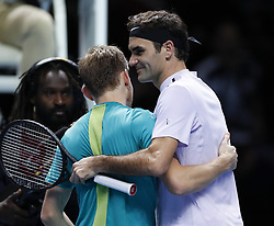 2017?11?18?.    ?????1???——ATP????????????????.       11?18??????????????????.       ???????????ATP?????????????????????????2?1???????????????.       ????????.(SP) BRITAIN-LONDON-TENNIS-ATP FINALS-GOFFIN VS FEDERER.(171118) -- LONDON, Nov. 18, 2017  David Goffin (L) of Belgium is congratulated by Roger Federer of Switzerland after the singles semi-final match during the Nitto ATP World Tour Finals at O2 Arena in London, Britain on Nov. 18, 2017. David Goffin won 2-1. (Credit Image: © Han Yan/Xinhua via ZUMA Wire)