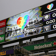 ORLANDO, FL - JUNE 18:  The scoreboard is seen with the Orlando United logo prior to a MLS soccer match between the San Jose Earthquakes and the Orlando City SC at Camping World Stadium on June 18, 2016 in Orlando, Florida. Thousands of fans are expected to show support for the victims and families affected by the Pulse nightclub shooting that occurred in Orlando one week ago. (Photo by Alex Menendez/Getty Images) *** Local Caption ***
