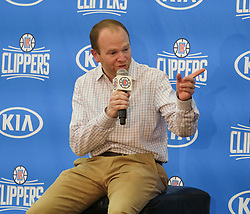 June 19, 2017 - Los Angeles, California, U.S - Los Angeles Clippers executive vice president of basketball operations Lawrence Frank, speaks during a news conference to introduce Jerry West as an advisor to the team, Monday, June 19, 2017, in Los Angeles. (Credit Image: © Ringo Chiu via ZUMA Wire)