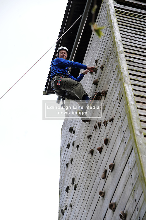 Willie Rennie, National Scout Activity Centre - Fordell Firs, 27-4-2016<br /> <br /> Willie tackles the climbing wall<br /> <br /> (c) David Wardle   Edinburgh Elite media