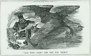 Effects of burning 'Old King Coal' on London.  The fog caused Asthma, Bronchitis, Pneumonia, Pleurisy,etc. John Tenniel cartoon from 'Punch', London, 1880.