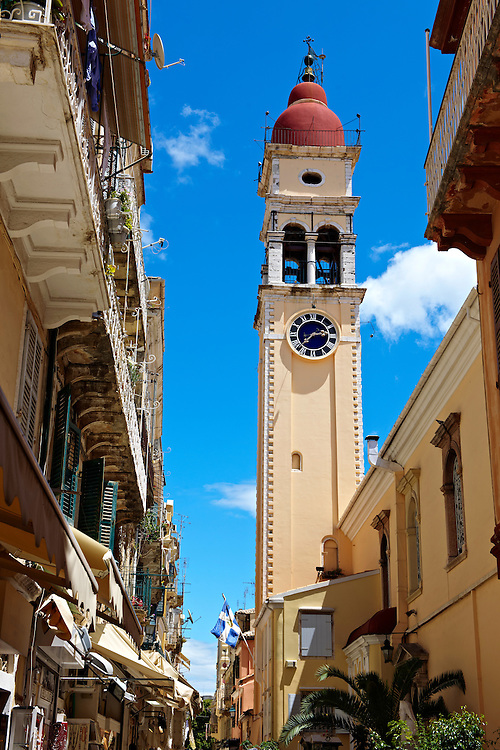 Bell tower of the Greek Orthodox Church of St. Spyridon, the patron Saint of Corfu . Greek Ionian Islands .<br /> <br /> If you prefer to buy from our ALAMY PHOTO LIBRARY  Collection visit : https://www.alamy.com/portfolio/paul-williams-funkystock/corfugreece.html <br /> <br /> Visit our GREECE PHOTO COLLECTIONS for more photos to download or buy as wall art prints https://funkystock.photoshelter.com/gallery-collection/Pictures-Images-of-Greece-Photos-of-Greek-Historic-Landmark-Sites/C0000w6e8OkknEb8