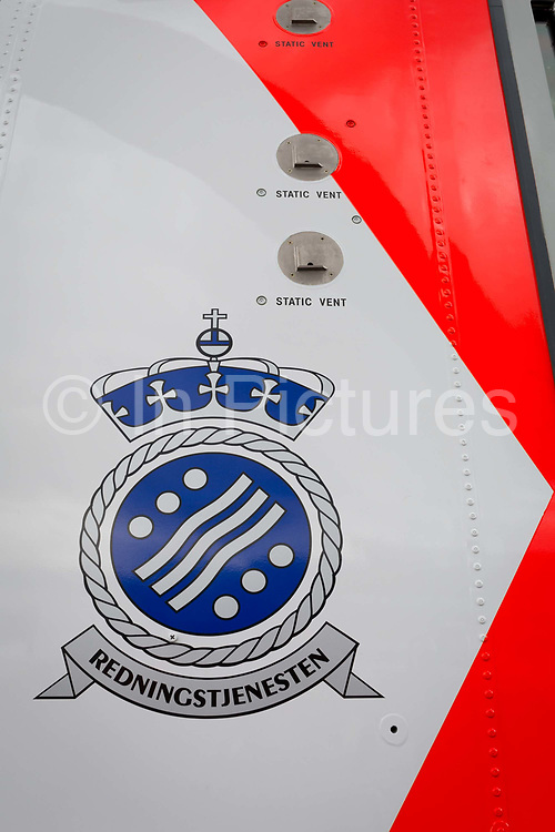 Detail of a Royal Norwegian Air Force AW101 Search and Rescue helicopter at the Farnborough Airshow, on 18th July 2018, in Farnborough, England. The helicopter operates as NAWSARH Norwegian All-Weather Search and Rescue Helicopter.