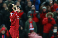 Mohamed Salah of Liverpool celebrates after scoring his teams 1st goal. Premier League match, Liverpool v Chelsea at the Anfield stadium in Liverpool, Merseyside on Saturday 25th November 2017.<br /> pic by Chris Stading, Andrew Orchard sports photography.