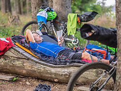 Mountain biker resting on a log reading book amidst woods, Baden-Wuerttemberg, Germany
