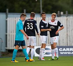 Falkirk's Kieran Duffie cele after Dunfermline's Callum Morris put the ball past his keeper for Falkirk's first goal.<br /> Falkirk 2 v 1 Dunfermline, Scottish League Cup, 27/8/2013, at The Falkirk Stadium.<br /> ©Michael Schofield.