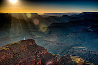 View of sunset from the South Rim in Grand Canyon, National Park. The Grand Canyon is a steep-sided gorge carved by the Colorado River in the United States in the state of Arizona. This is  one of the first national parks in the United States