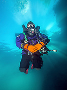 Rebreather diver under the platform in Dutch Springs, Pennsylvania.