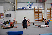 Rowan Cheshire, Katie Summerhayes, Katie Ormerod, Tyler Harding and Anna Vincenti with Gymnastic coach Ross Hill, the British Ski and Snowboard team train at Leeds Gymnastic Club on 21st July 2017 in Leeds, United Kingdom. Leeds Gymnastic Club is one of the training facilities for the GB Snow team in the UK.