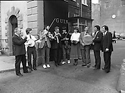 Comhaltas Ceoltóirí Éireann Tour.  (N66)..1981..24.03.1981..03.24.1981..24th March 1981..Twenty leading traditional musicians, singers and dancers will participatein the third annualconcert tour of Ireland by Comhaltas Ceoltóirí Éireann.The tour which will cover the four provinces will be from March 29th to April 12th. Due to the rising costs of such a tour Comhaltas appealed for sponsorship, Guinness Group Sales,Ltd, responded generously and have adopted the Irish Tour as their special project..The artistes appearing include;. Bobby Gardiner,Clare; Sean McSkeane,London;.Liam Farrell,London; Frank Kelly, Donegal;.Vincent Broderick, Galway; Anne McAuliffe, Kerry;.Margaret Peakin, Liverpool; Peter Carberry,Longford;.Nora Butler, Tipperary; Michael Hipkiss, Bimingham;.Maria Wogan, Dublin; Anne Callaghan, Tipperary;.Michael Cunningham and John Cunningham, Athlone...Pictured at Guinness Brewery, St James's Gate Dublin were: (L-R) Vincent Broderick,Mícheal Ó Cionnaith,Séamus Glacken,Kevin Glacken,Mary McNamara, Mr Norman Cairns, Managing Director,Guinness Group Sales,Seán MacTurlough and Donal DeBarra,president of Comhaltas.
