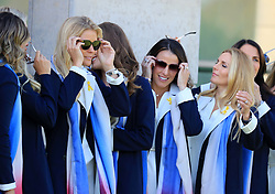 Team Europe captain Thomas Bjorn's girlfriend Grace Barber (centre left) and Sergio Garcia's wife Angela Akins (centre right) as The European Team's wives and girlfriends line up for a photo before the Ryder Cup Opening Ceremony at Le Golf National, Saint-Quentin-en-Yvelines, Paris.