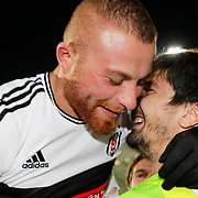 Besiktas's goalkeeper Tolga Zengin (R) and Gokhan Tore celebrate victory during their Turkish superleague soccer match Besiktas between Sivasspor at Osmanli Stadium in Istanbul Turkey on Sunday 19 October 2014. Photo by Kurtulus YILMAZ/TURKPIX