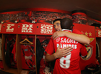 20100509: LISBON, PORTUGAL - SL Benfica vs Rio Ave: Portuguese League 2009/2010, 30th round. Players celebrations in the locker room. In picture: Oscar Cardozo and Ramires. PHOTO: CITYFILES
