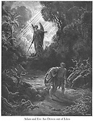 Adam and Eve Driven Out of Eden Genesis 3:24 From the book 'Bible Gallery' Illustrated by Gustave Dore with Memoir of Doré and Descriptive Letter-press by Talbot W. Chambers D.D. Published by Cassell & Company Limited in London and simultaneously by Mame in Tours, France in 1866