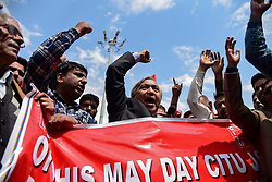 May 2, 2019 - Srinagar, Jammu and Kashmir, India - Leader of Communist party of India Mohd Yousuf Tarigami seen chanting slogans demanding job security and better pay during the anti government rally in Srinagar  (Credit Image: © Idrees Abbas/SOPA Images via ZUMA Wire)