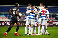 GOAL 3-1, penalty,Queens Park Rangers (QPR) attacker Lyndon Dykes (9) during the EFL Sky Bet Championship match between Queens Park Rangers and Rotherham United at the Kiyan Prince Foundation Stadium, London, England on 24 November 2020.