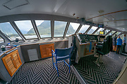 fisheye image of the bridge of the Milford sovereign an excursion boat in Fiordland National Park, Milford Sound. South Island New Zealand