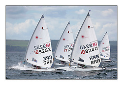 Anna Agrafioti, GRE 189252 and Odile Ginaid, BRA 189240.The Laser Radial World Championships are taking place at Largs, Scotland GBR. Practice Race, Training and Opening Parade..118 Women from 35 different nations compete in the Olympic Women's Laser Radial fleet and 104 Men from 30 different nations. .All three 2008 Women's Laser Radial Olympic Medallists are competing. .The Laser Radial World Championships take place every year. This is the first time they have been held in Scotland and are part of the initiaitve to bring key world class events to Britain in the lead up to the 2012 Olympic Games. .The Laser is the world's most popular singlehanded sailing dinghy and is sailed and raced worldwide. ..Further media information from .laserworlds@gmail.com.event press officer mobile +44 7775 671973  and +44 1475 675129 .