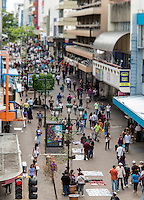 SAN JOSE, COSTA RICA - CIRCA AUGUST 2012: View of the Avenida Central Street circa 2012 in San Jose, a very popular tourist destination with 2.2 million foreign visitors a year.