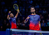Tennis - 2019 Nitto ATP Finals at The O2 - Day Six<br /> <br /> Doubles Group Max Mirnyi: Juan Sebastien Cabal (COL) & Robert Farah (COL) Vs. Kevin Krawietz (GER) & Andreas Mies (GER)<br /> <br /> The Columbian players celebrate the win<br /> <br /> <br /> COLORSPORT/DANIEL BEARHAM