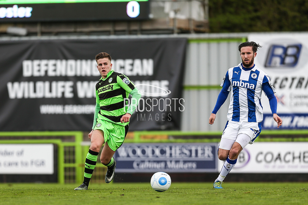 Forest Green Rovers Charlie Cooper(20) passes the ball during the Vanarama National League match between Forest Green Rovers and Chester FC at the New Lawn, Forest Green, United Kingdom on 14 April 2017. Photo by Shane Healey.