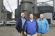 SHOT 10/29/18 9:47:58 AM - Sunrise Cooperative is a leading agricultural and energy cooperative based in Fremont, Ohio with members spanning from the Ohio River to Lake Erie. Sunrise is 100-percent farmer-owned and was formed through the merger of Trupointe Cooperative and Sunrise Cooperative on September 1, 2016. Photographed at the Clyde, Ohio grain elevator was George D. Secor President / CEO and John Lowry<br /> Chairman of the Board of Directors with  CoBank RM Gary Weidenborner. (Photo by Marc Piscotty © 2018)