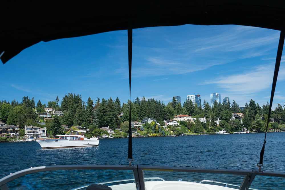 United States, Washington, Bellevue, Meydenbauer Bay and downtown Belleuvue, view through boat canopy