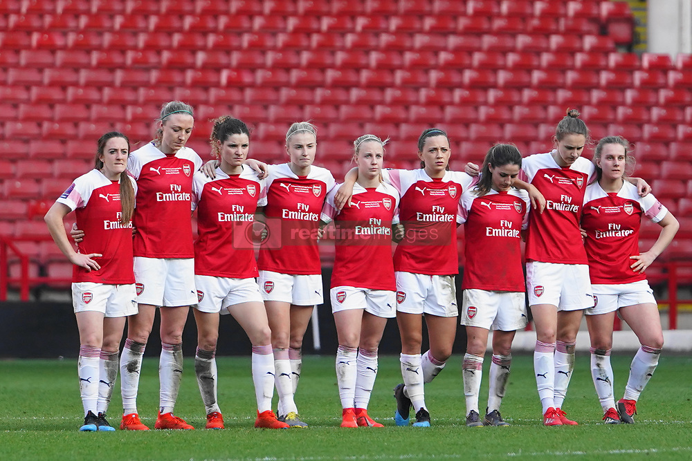 February 23, 2019 - Sheffield, England, United Kingdom - Arsenal players watching the penalty shot out..during the FA Women's Continental League Cup Final football match between Arsenal Women and Manchester City Women at Bramall Lane on February 23, 2019 in Sheffield, England. (Credit Image: © Action Foto Sport/NurPhoto via ZUMA Press)