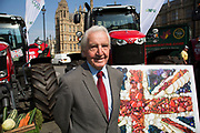 MP Dennis Skinner at the National Farmers Union NFU took machinery, produce, farmers and staff to Westminster to encourage Members of Parliament to back British farming, post Brexit on 14th September 2016 in London, United Kingdom. MPs were encouraged to sign the NFU's pledge and wear a British wheat and wool pin badge to show their support.