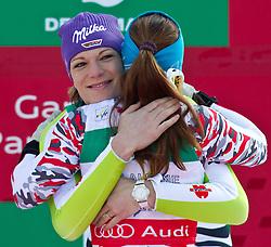 13.02.2011, Kandahar, Garmisch Partenkirchen, GER, FIS Alpin Ski WM 2011, GAP, Damen Abfahrt, im Bild dritte, bronze Medaille Maria Riesch (GER) umarmt Goldmedaillen Gewinnerin und Weltmeisterin Elisabeth Goergl (AUT) // third, bronze Medal Maria Riesch (GER) gratulates World Champion and Gold Medal Winner Elisabeth Goergl (AUT) during womens Downhill, Fis Alpine Ski World Championships in Garmisch Partenkirchen, Germany on 13/2/2011, 2011, EXPA Pictures © 2011, PhotoCredit: EXPA/ J. Feichter