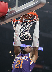 November 28, 2018 - Los Angeles, California, U.S - Richaun Holmes #21 of the Phoenix Suns dunks the ball during their NBA game with the Los Angeles Clippers  on Wednesday November 28, 2018 at the Staples Center in Los Angeles, California. Clippers vs Suns. (Credit Image: © Prensa Internacional via ZUMA Wire)