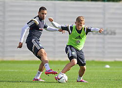 NEWPORT, WALES - Tuesday, October 7, 2014: Wales' Hal Robson-Kanu and George Williams training at Dragon Park National Football Development Centre ahead of the UEFA Euro 2016 qualifying match against Bosnia and Herzegovina. (Pic by David Rawcliffe/Propaganda)