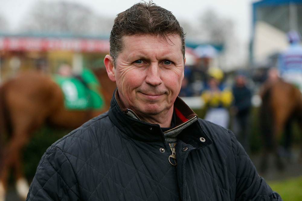 Navan Races, Saturday 27th February 2016.<br /> Mister Fist trainer, Robert Hennessy pictured before the start of the Newgrange Veterans Handicap Steeplechase<br /> Photo: David Mullen /www.cyberimages.net / 2016