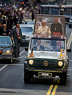 Pope John Paul II made his historic tour to the United States, September 10-18, 1987, visiting Miami, Florida; Columbia, SC; New Orleans, LA; San Antonio, TX, Phoenix, AZ, Los Angeles, CA; Monterrey, CA, San Francisco, CA, and Detroit, MI. <br /> <br /> Popemobile, Los Angeles parade.