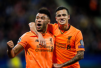 MARIBOR, SLOVENIA - OCTOBER 17: Alex Oxlade-Chamberlain of Liverpool FC and Philippe Coutinho of Liverpool FC celebrate after scoring sixth goal for Liverpool during UEFA Champions League 2017/18 group E match between NK Maribor and Liverpool FC at Stadium Ljudski vrt, on October 17, 2017 in Maribor, Slovenia. (Photo by Vid Ponikvar / Sportida)