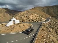 Aerial view of the Mirador Risco de las Peñas among Betancuria and Pájara in Fuerteventura, Canary Islands.