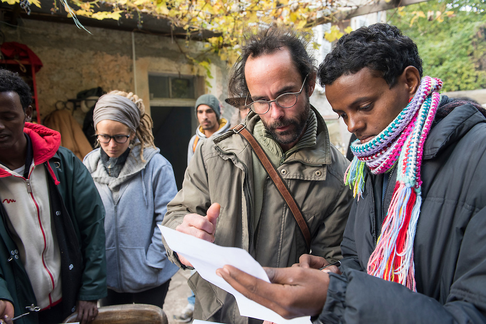 November 8, 2016 - Breil-sur-Roya, France: Cedric Herrou, a 37-year-old farmer, assists unaccompanied minor migrants from Eritrea with their asylum application. Cedric is one of the 120 inhabitants of the village Breil-sur-Roya in the Roya valley, in the Alps on the French Italian border, who formed a clandestine network to help migrants who walked into the valley from Ventimiglia, Italy, with shelter, food and transportation.<br /> <br /> 8 novembre 2016 - Breil-sur-Roya, France: Cedric Herrou, agriculteur de 37 ans, aide des migrants mineurs non accompagnés avec leur demande d'asile. Cédric est l'un des 120 habitants du village de Breil-sur-Roya dans la vallée de la Roya, à la frontière italienne, qui aident des migrants.